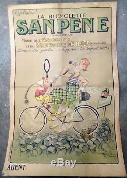 Affiche authentique rare bicyclette Sanpeine par Raoul Vion vers 1920 21223