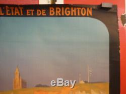 Affiche chemin de fer trains Dieppe paris Londres R. Péan vers 1920