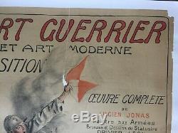Affiche entoilée Guerre 14-18 L'ART GUERRIER ET ART MODERNE Exposition 78x106cm