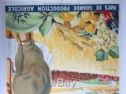 Affiche entoilée L'ALGERIE Pays de grande production agricole DORMOY 73x104 1929