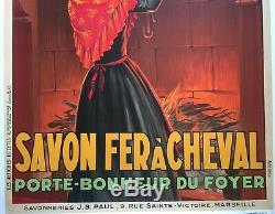Affiche entoilée SAVON FER A CHEVAL Porte-Bonheur du Foyer HENRY LE MONNIER 1931
