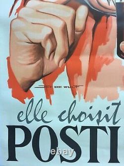 Affiche entoilée VIN DU POSTILLON Pas Folle la guêpe JEF DE WULF 80x120cm 1950