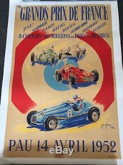 Affiche entoilée de Jean des Gachons Grand prix automobiles de France Pau 1952