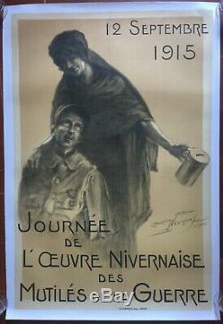 Affiche entoilée guerre 14-18 JOURNEE DE L'OEUVRE NIVERNAISE Neumont 79x117cm
