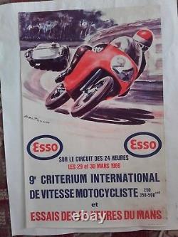 Affiche essais 24 heures du mans 1969 critérium inter de vitesse motocycliste