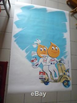 Affiche huile Esso 2 temps Mr et Mme goutte d'huile en scooter Vespa 174x120cm