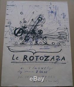 Affiche jean TINGUELY le rotozaza chez alexandre IOLAS en 1967 vintage poster