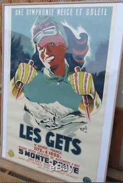 Affiche les gets Ski Montagne Moris vers 1950 édition Person Haute Savoie