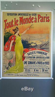 Affiche litho Originale Entoilée de 1897 TOUT LE MONDE à PARIS de René PEAN