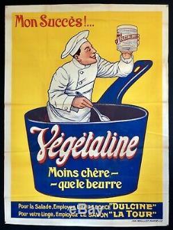 Affiche lithographiée Végétaline à Marseille 1920 / Cuisinier / 120 x 160cm
