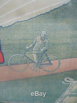 Affiche moto entoilée CYCLES ET MOTOCYCLES AIGLON par V. CANALE année 1904
