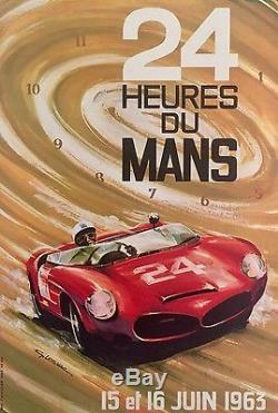Affiche original 24 heures du Mans 1963 par Leygnac entoilée Etat A+