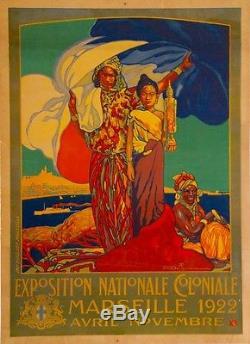 Affiche original Exposition Nationale Coloniale Dellepiane 107X78 Entoilée etatB