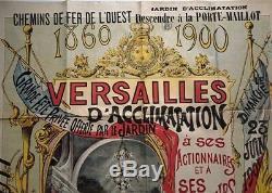 Affiche original Fête Château de Versailles Chemins de fer de l'Ouest 1900