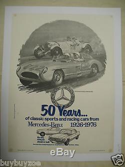 Affiche original poster MERCEDES 50 years 1926-76 300 SL FANGIO MILLE MIGLIA