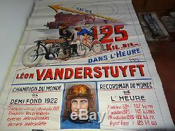 Affiche originale 1928 Léon Vanderstuyft 125 km/h à vélo! Tracté par une moto