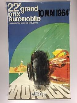 Affiche originale 22ème GRAND PRIX AUTOMOBILE MONACO 1964