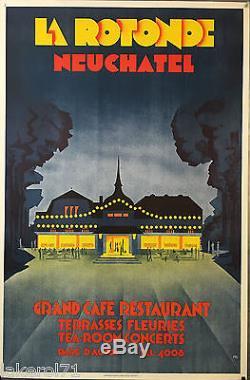 Affiche originale ART-DÉCO Grand Café Restaurant La Rotonde NEUCHTEL 1925