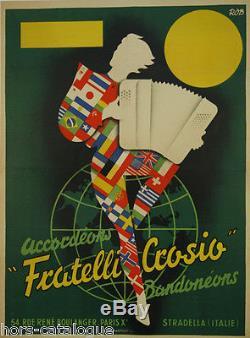 Affiche originale, Accordéons-Bandoléons Fratelli Crosio. Par Rob. Imp. Harfort