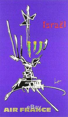 Affiche originale Air France ISRAËL par MATHIEU