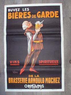 Affiche originale Bières de garde Lille, 1930, litho LECLERCQ