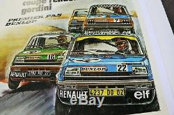 Affiche originale COUPE RENAULT 5 ELF GORDINI CALENDRIER 1975 R5 ALPINE 88x65cm