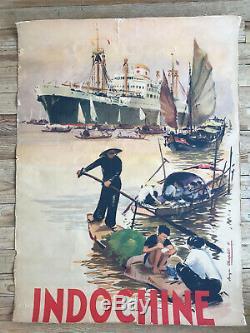 Affiche originale Chargeurs Réunis Indochine Roger Chapelet