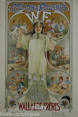 Affiche originale, Cotons à coudre Wallaert Frères, Paris-Lille. Couture tissus