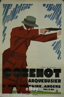 Affiche originale Cozenot Arquebusier, 1927. Par Jean A. Mercier. Chasse fusil