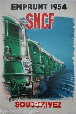 Affiche originale, Emprunt SNCF 1954, souscrivez. Train, locomotive. Par Vecou
