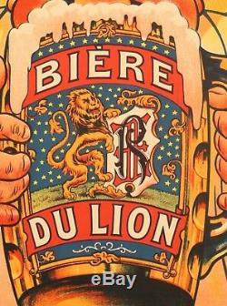 Affiche originale Eugène Ogé Chope Bière du Lion 1905