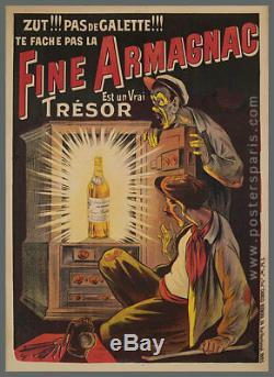 Affiche originale Eugène Ogé Fine Armagnac Alcool 1902