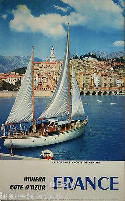 Affiche originale, France, Riviera Cote d Azur le Port des Yachts à Menton