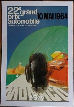 Affiche originale Grand Prix de Monaco 1964 Entoilée Superbe état