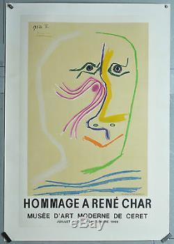 Affiche originale Hommage à René Char 1969 PICASSO Printed MOURLOT