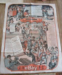 Affiche originale J. Hetzel & Cie Etrennes 1878 Enfance Jeunesse