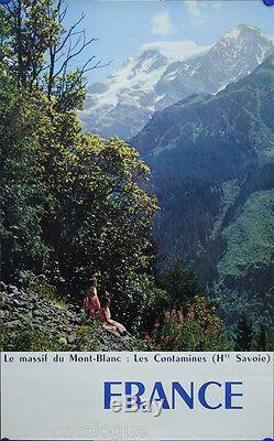 Affiche originale, Massif du Mont-Blanc, Les Contamines. Par Lambert. 1960