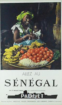 Affiche originale SENEGAL Cie PAQUET