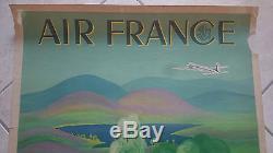 Affiche originale air france grande bretagne lucien boucher avion aviation