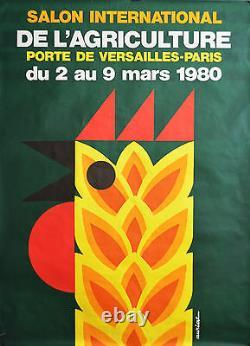 Affiche originale ancienne 120 x 160 Salon de l'agriculture 1980 Par AURIAC