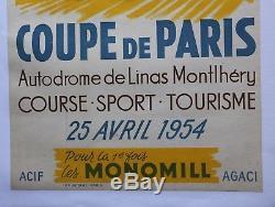 Affiche originale ancienne Géo Ham Coupe de Paris 25 avril 1954 Linas-Monthléry