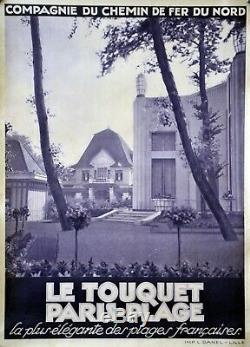 Affiche originale ancienne LE TOUQUET Paris plage 103 x 75 cm