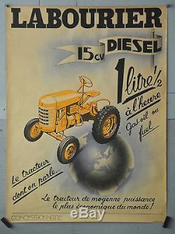 Affiche originale ancienne Tracteur LABOURIER