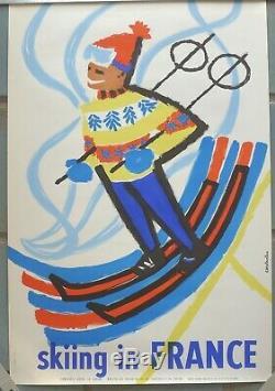 Affiche originale ancienne collection ski chalet sports d'hiver Alpes 1959