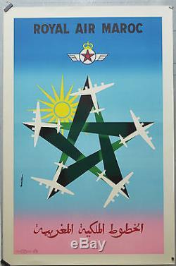 Affiche originale ancienne de 1957 Entoilée. ROYAL AIR MAROC. Par Auriac