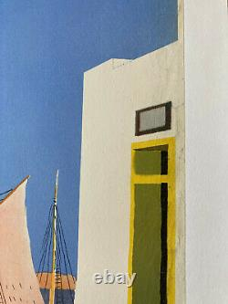 Affiche originale ancienne de tourisme Grèce Hydra Yiannis Moralis 1950