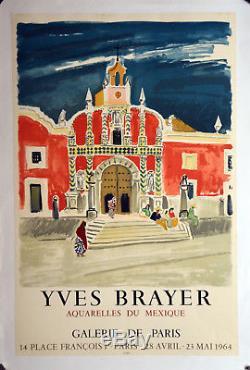 Affiche originale ancienne entoilée 1964 YVES BRAYER Aquarelles MEXIQUE