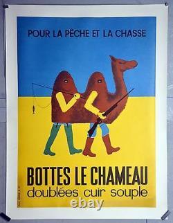 Affiche originale ancienne entoilée Bottes LE CHAMEAU 77x 56 cm