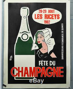 Affiche originale ancienne entoilée Fête du champagne LES RICEY 1982