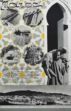 Affiche originale ancienne entoilée -MAROC INDUSTRIES ANNEES 40-50